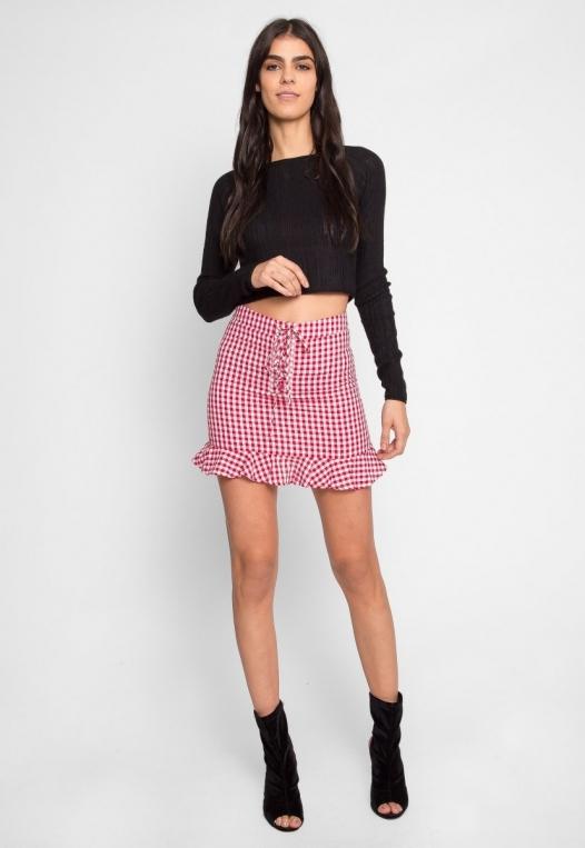 Delphine Plaid Skirt in Red alternate img #5