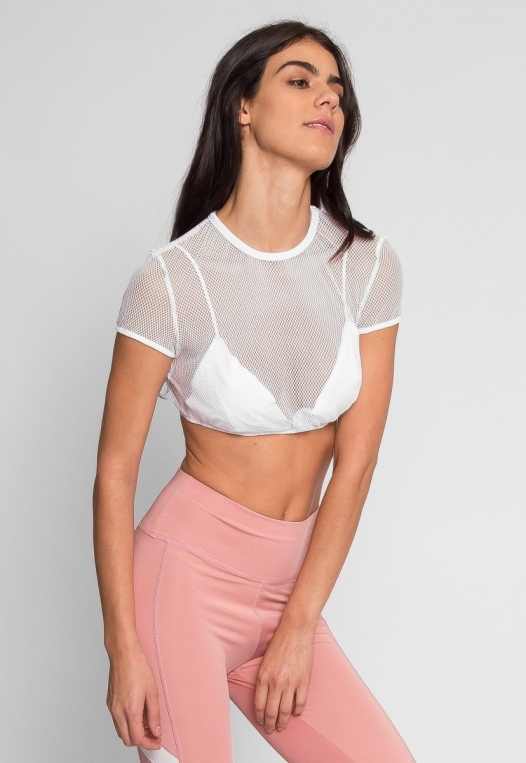 Pilates Mesh Crop Top in White alternate img #3