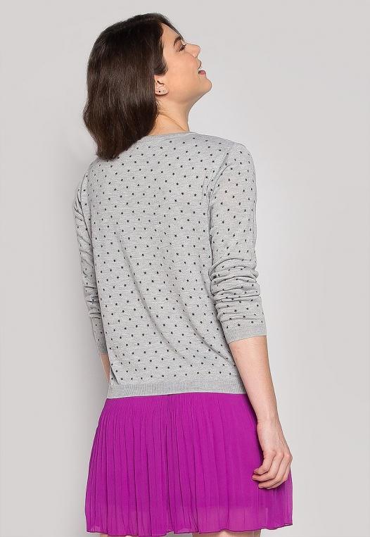 Soft Star Printed Sweater in Gray alternate img #2