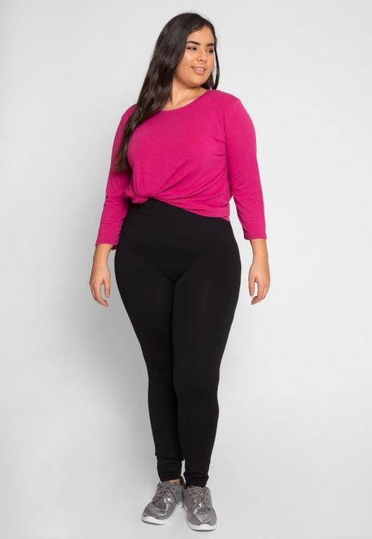 Plus Size High Waist Fleece Leggings in Black alternate img #1