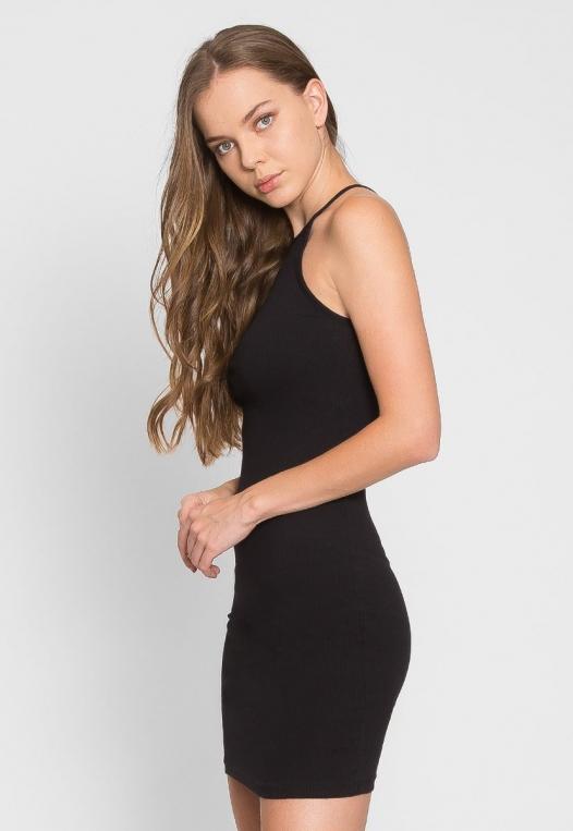Lush Rib Knit Halter Bodycon Dress in Black alternate img #3