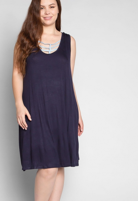 Plus Size Love Stories Tank Dress in Navy alternate img #5