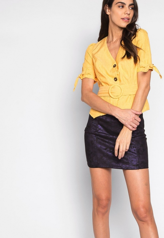 Forever Me Button Up Belted Blouse in Yellow alternate img #5