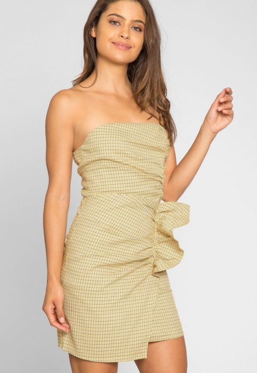 Natural Gingham Ruched Dress in Yellow alternate img #5