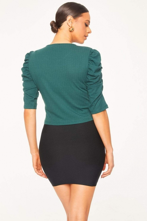 Ruched Cascade Sleeve Knit Blouse alternate img #5