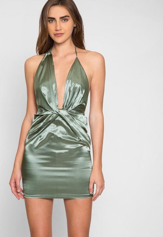 Expression Satin Plunge Mini Dress alternate img #5