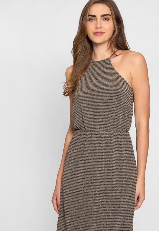 Gina Metallic Striped Maxi Dress alternate img #5