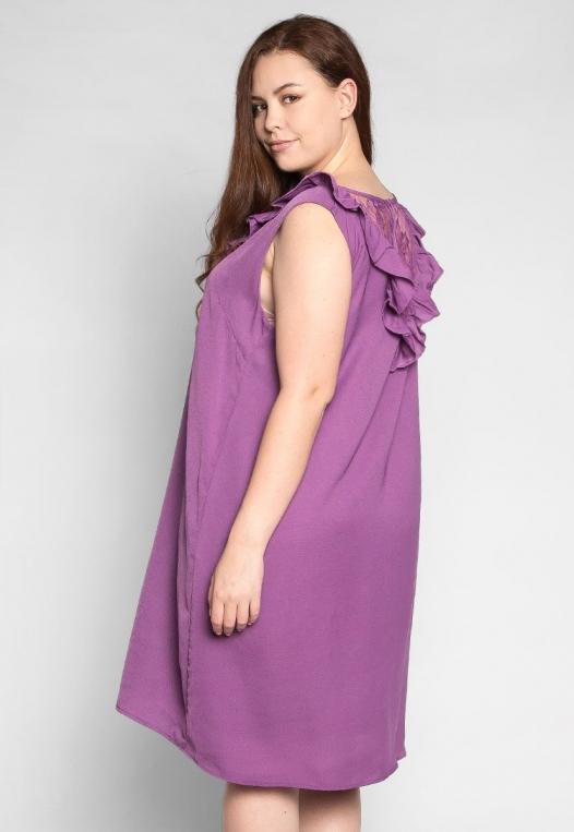 Plus Size Lavender Fields Ruffle Mini Dress in Purple alternate img #2