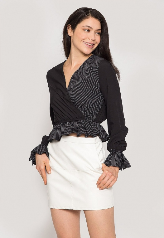 Night Out Surplice Blouse in Black alternate img #1