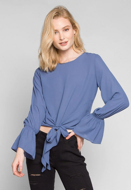 Blue Sky Forever Tie Waist Blouse alternate img #1