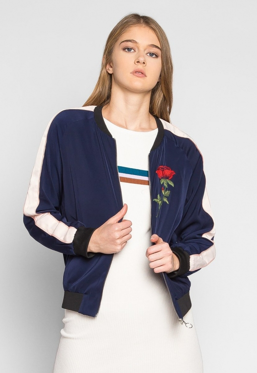 Night Feelings Floral Embroidered Bomber Jacket alternate img #1