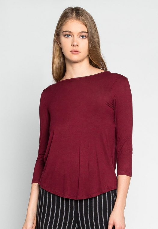 Popsicle Open Back Knit Top in Burgundy alternate img #5