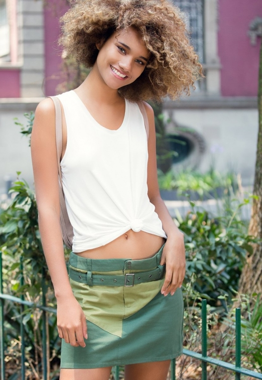 Colorblock Twill Mini Skirt alternate img #1