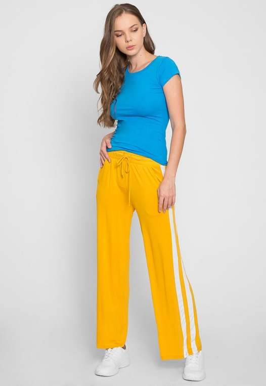 Sunny Day Wide Leg Joggers in Yellow alternate img #1
