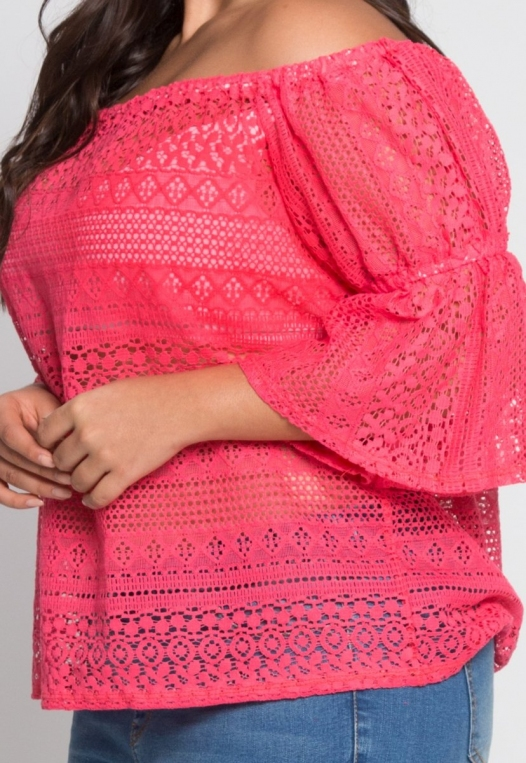 Plus Size Susie Off Shoulder Lace Top in Pink alternate img #6