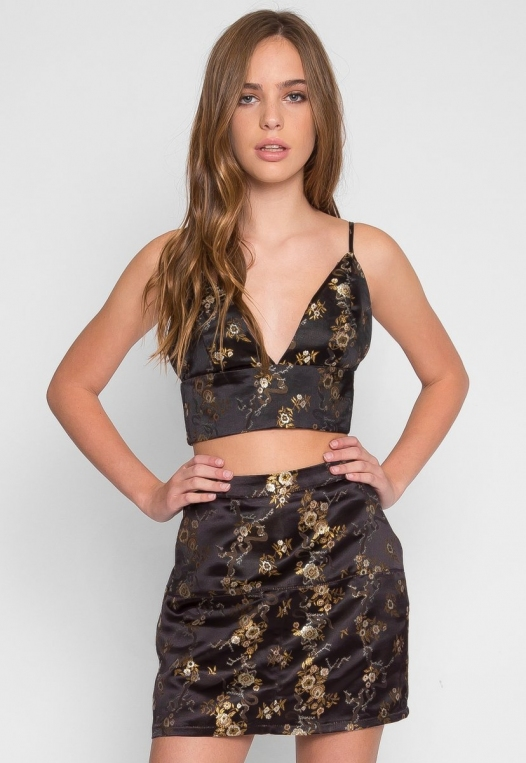 Brocade Two Piece Set in Black alternate img #1