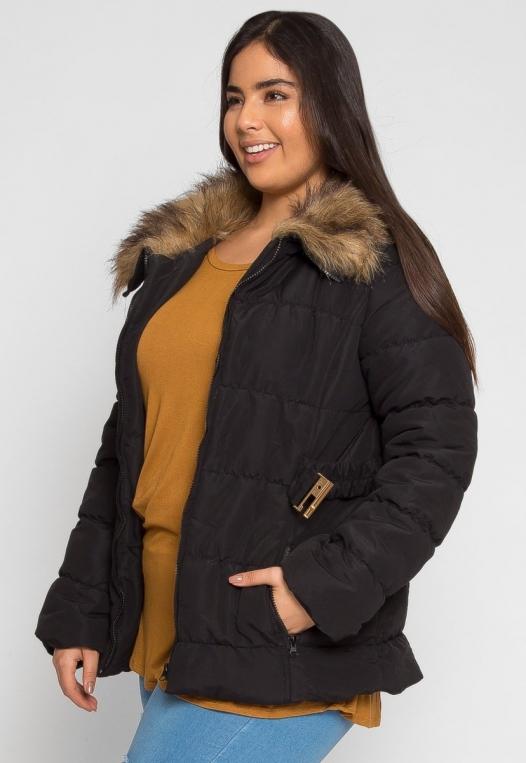 Plus Size Luxurious Faux Fur Trim Jacket in Black alternate img #1