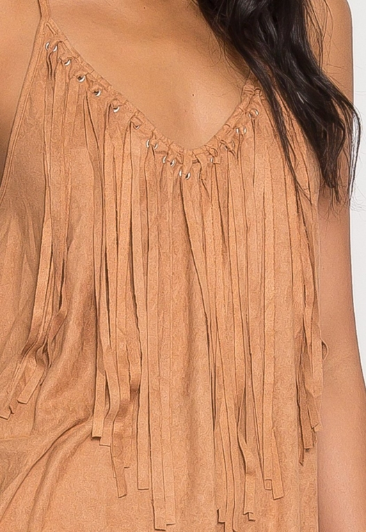 Symphony Faux Suede Dress in Taupe alternate img #6