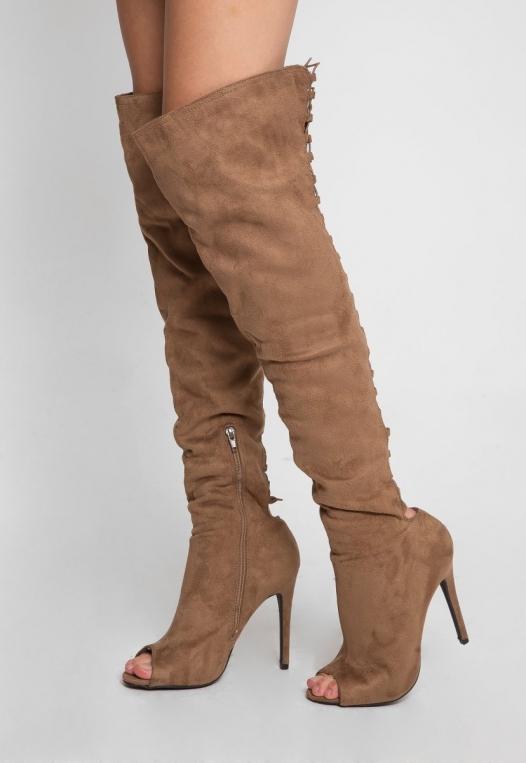 Joy Ride Open Toe Thigh High Boots alternate img #1