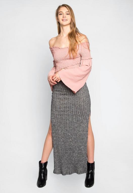 Hit The Ground Heathered Knit Maxi Skirt alternate img #4