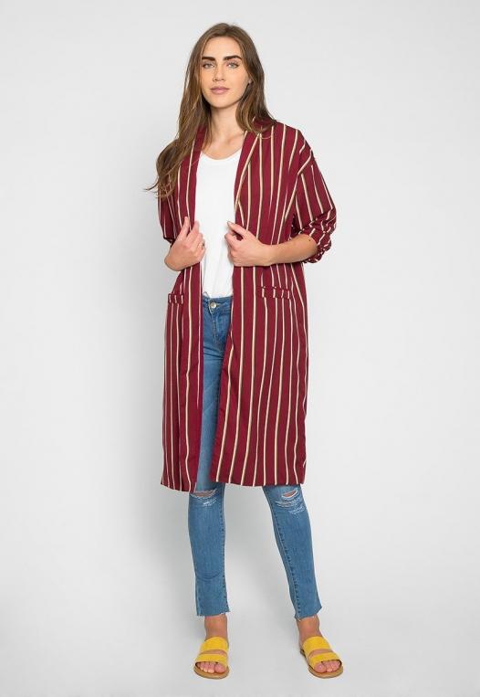 Rumors Longline Stripe Kimono in Wine alternate img #4