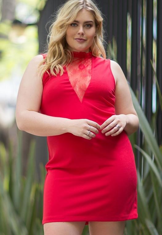 Plus Size Celebration Dress in Red alternate img #1