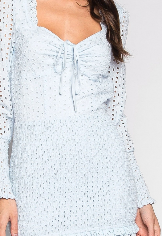 Clouds Above Eyelet Smock Panels Mini Dress alternate img #6