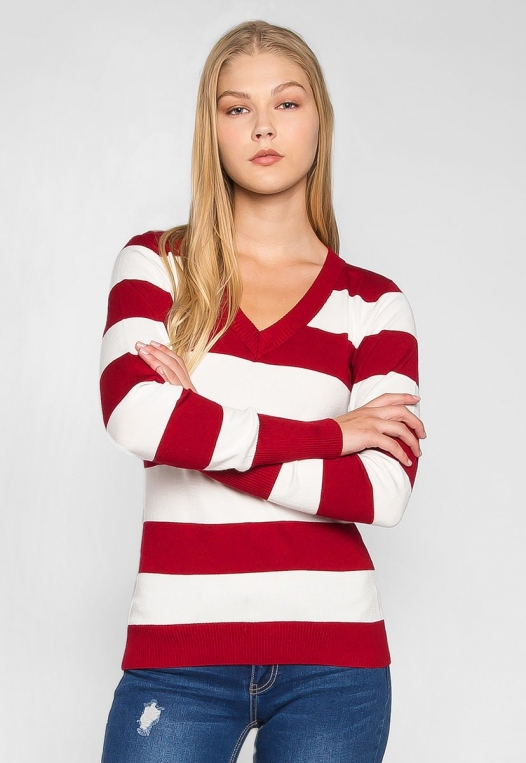 Be My Soulmate V-Neck Stripe Fitted Cardigan in Red alternate img #1