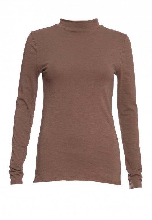 Sue Mock Neck Long Sleeve Top in Mocha alternate img #7
