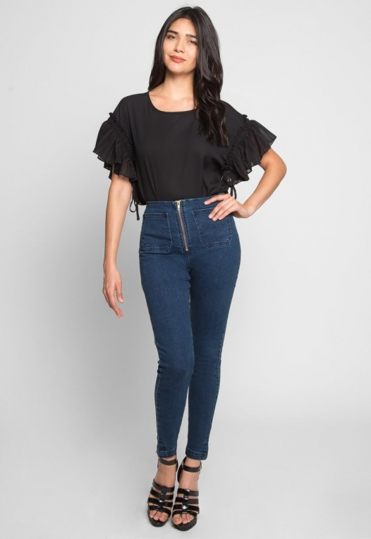 High Waist Zipper Front Skinny Jeans alternate img #1