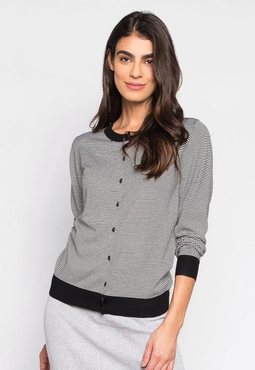 Black & White Wide Stripe Button Up Cardigan alternate img #1