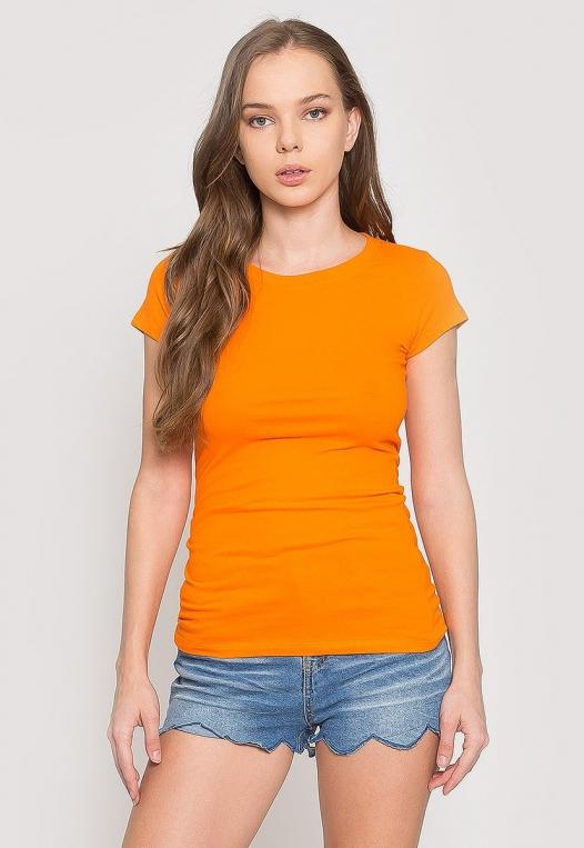 Venus Fitted Crew Neck Tee in Orange alternate img #1