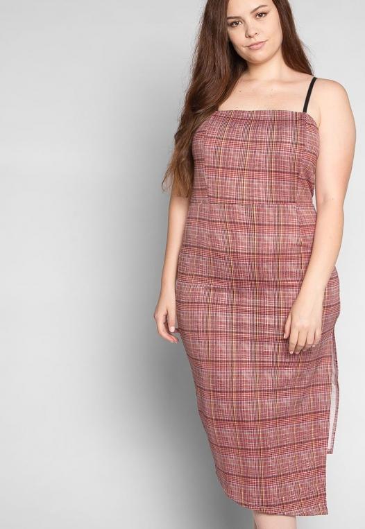 Plus Size Secrets Plaid Slit Dress in Red alternate img #5