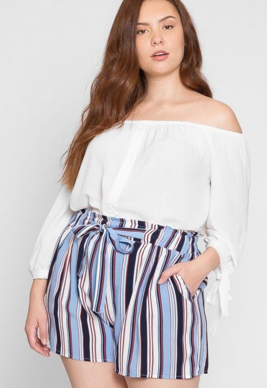 Plus Size Venice Beach Stripe Shorts in Light Blue alternate img #1