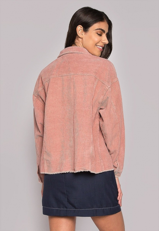 Emily Raw Hem Corduroy Jacket In Pink alternate img #3