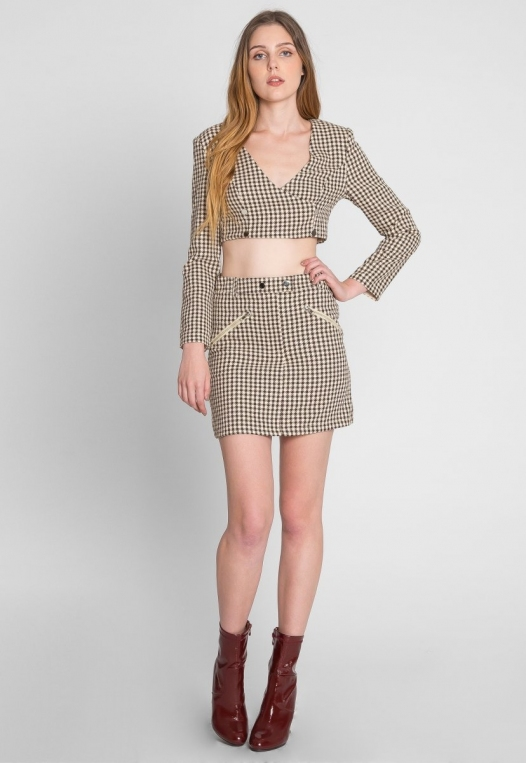 Money Houndstooth Two Piece Set in Brown alternate img #6