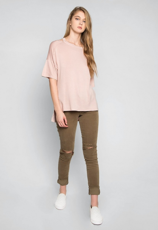 Happy Day Cut Out Knit Top in Peach alternate img #4