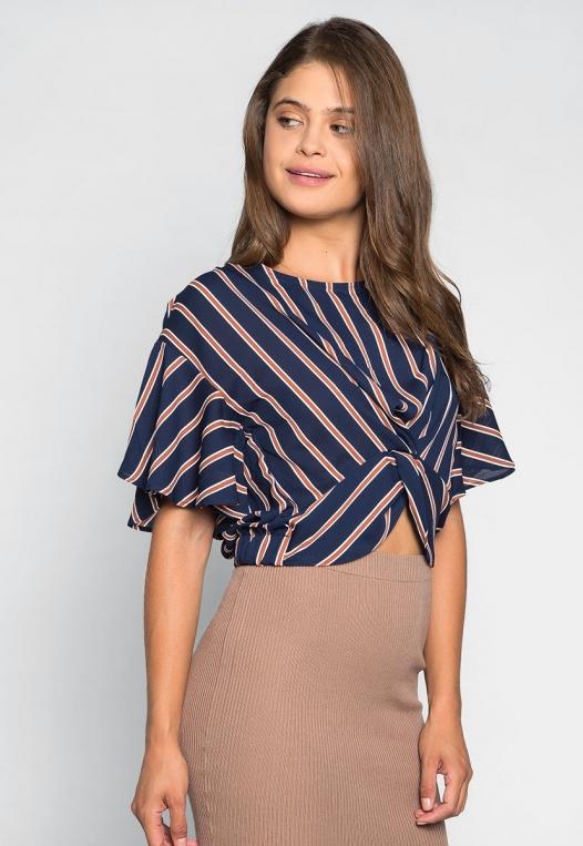 Teach Me Twisted Stripe Blouse in Navy alternate img #3