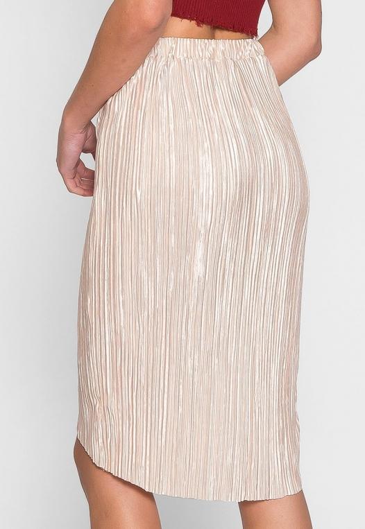 Metallic Pleated Tulip Skirt in Beige alternate img #2