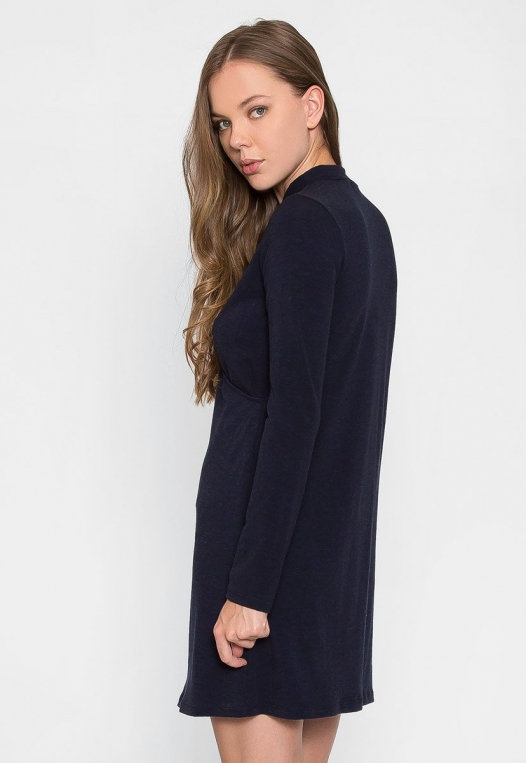 House Warming Surplice Dress in Navy alternate img #2