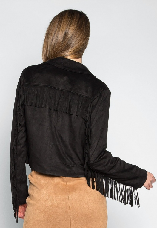 West Coast Fringe Faux Suede Jacket alternate img #2
