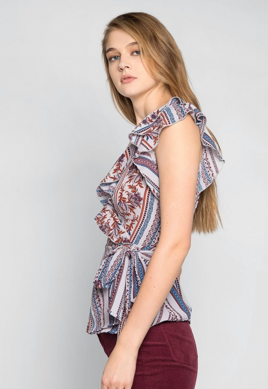 Above the Clouds Printed Wrap Blouse alternate img #3