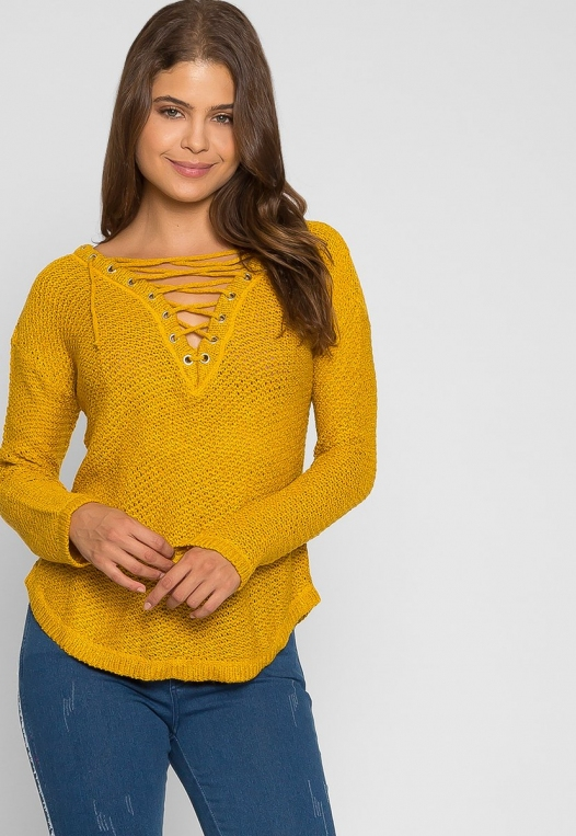 April Lace Up Sweater in Mustard alternate img #5