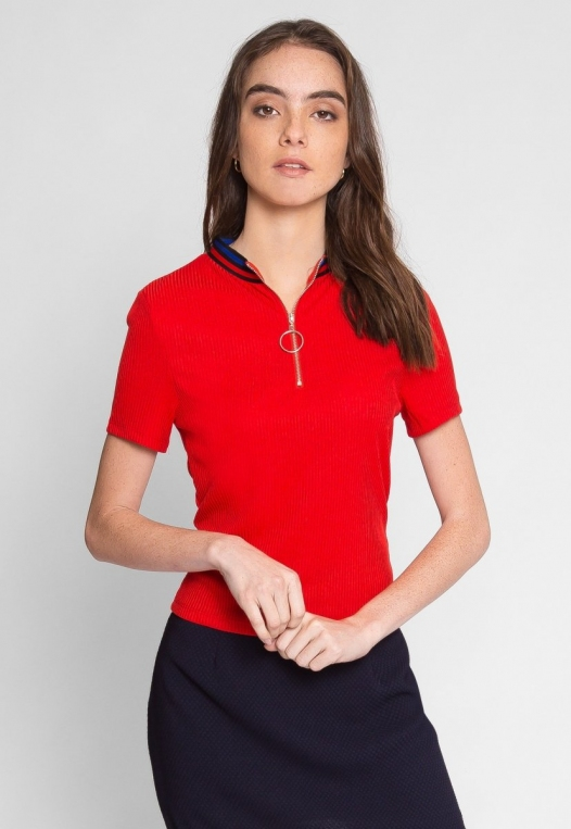 Exuberant Sports Trim Polo Top in Red alternate img #2