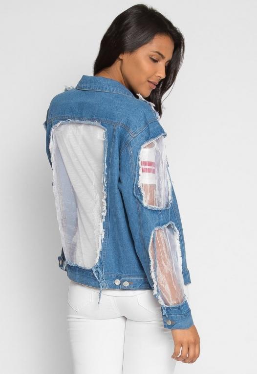 Ocean Lane Distressed Denim Jacket alternate img #2