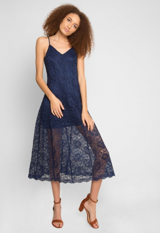 Manhattan Lace Maxi Dress in Navy alternate img #1