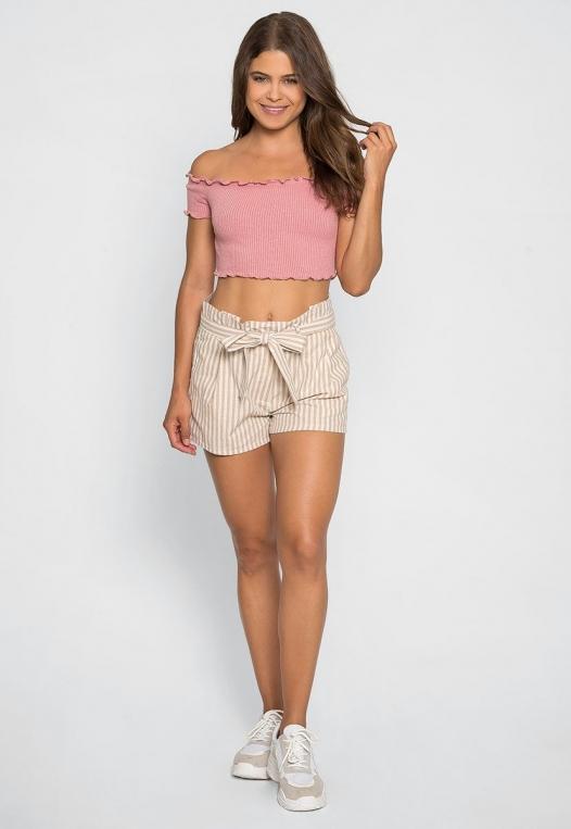 Cappuccino Stripe Paper Waist Shorts alternate img #5