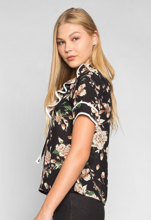 All I Need Floral Tie Neck Blouse alternate img #3