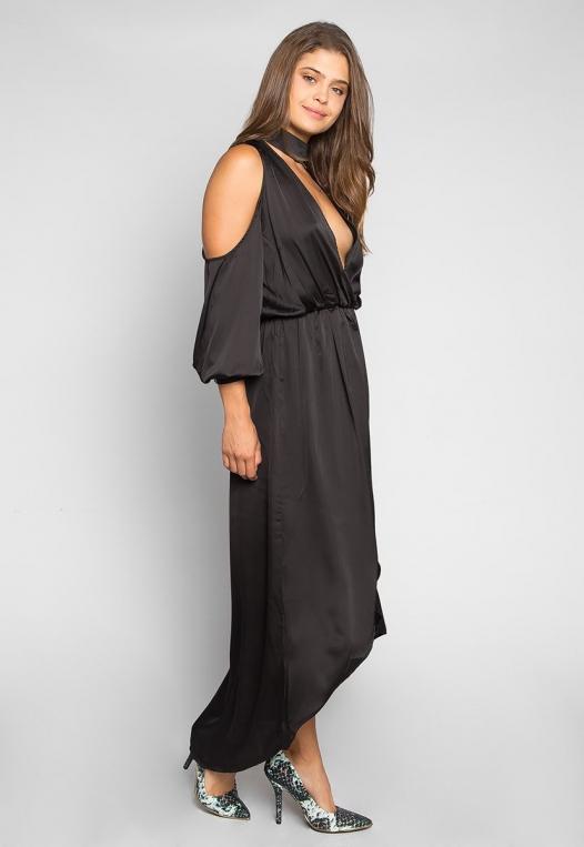 Always & Forever Satin Maxi Dress in Black alternate img #1