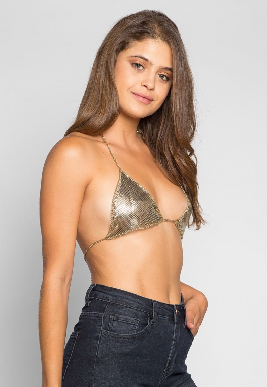 So Cool Chainmail Bralette in Gold alternate img #1